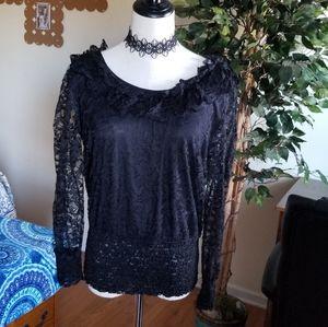 Cristina NWT black lace overlay top M/L
